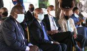 (L-R) Hon. Dr Douglas Letsholathebe, Hon. Dr Thapelo Matsheka, Alan Boshwaen, Essop Pandor